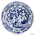 A blue and white Daoist Immortal dish, China, Lingzhi mark, Kangxi period
