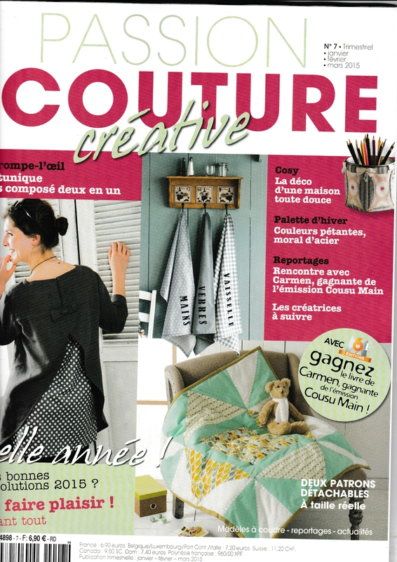 Passion Couture Créative n° 7 -janvier février mars 2015 - Couverture