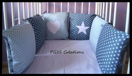 Tour de lit gris étoile et pois gris Camille