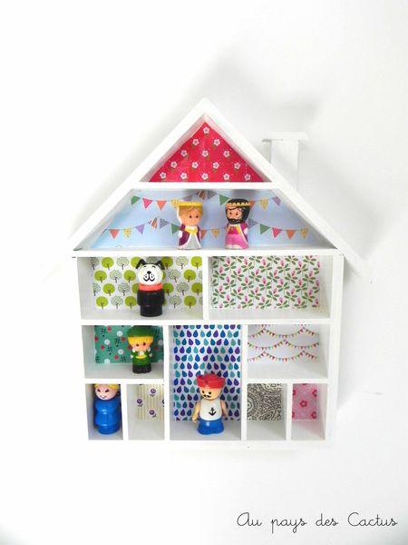 Etagère-maison décorée papiers Fifi Mandirac Au pays des Cactus 1