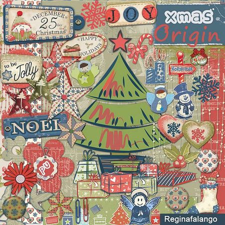 Free scrapbook christmas kit 3 from Regina Falango