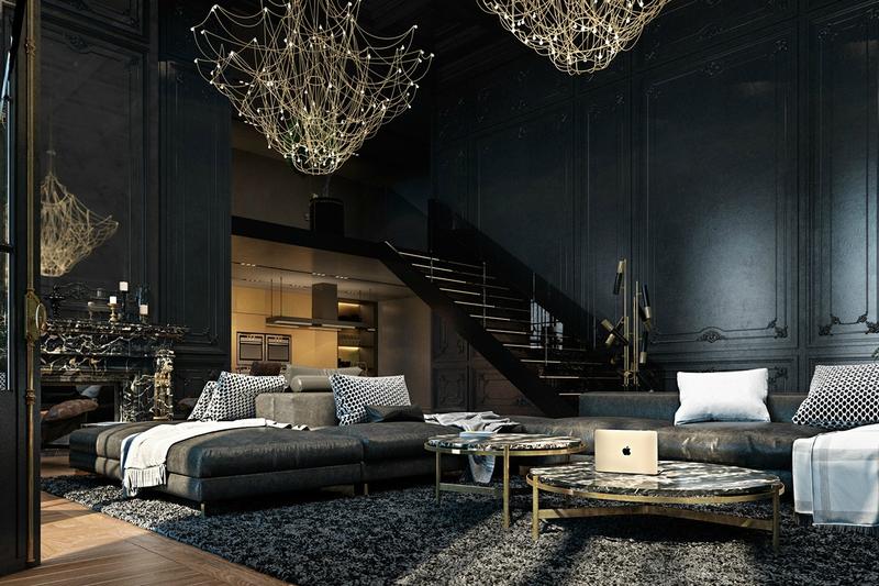 Abandoned-manor-living-space-shagpile-rug-cobweb-chandeliers