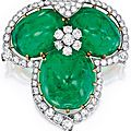 "Platinum, 18 karat gold, emerald, and diamond ""trefoil"" brooch by cartier"