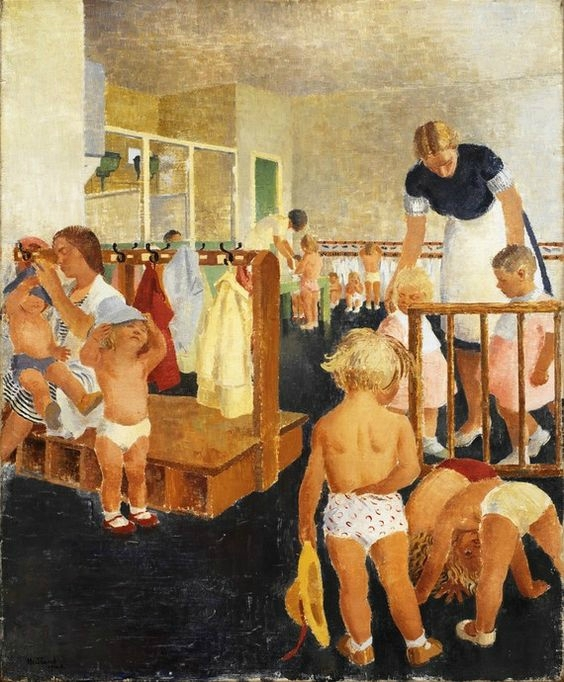 Elsie Hewland (1901-79) painted A Nursery School for War-Workers' Children in 1941