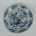 Blue-and-white plate with the design of lake, rocks and flowers, Yongle period (1403-1424)