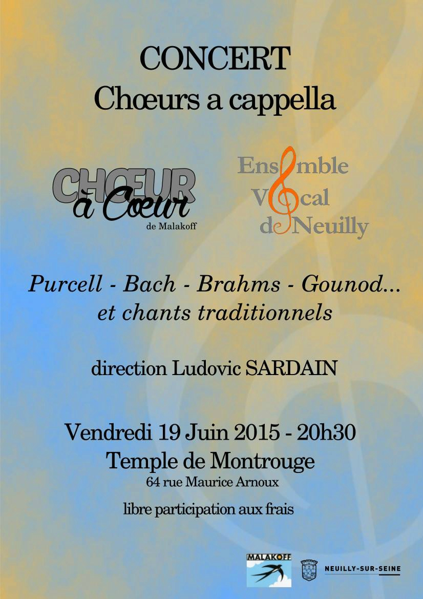 Concert de l'Ensemble Vocal de Neuilly demain soir au Temple de Montrouge à 20h30