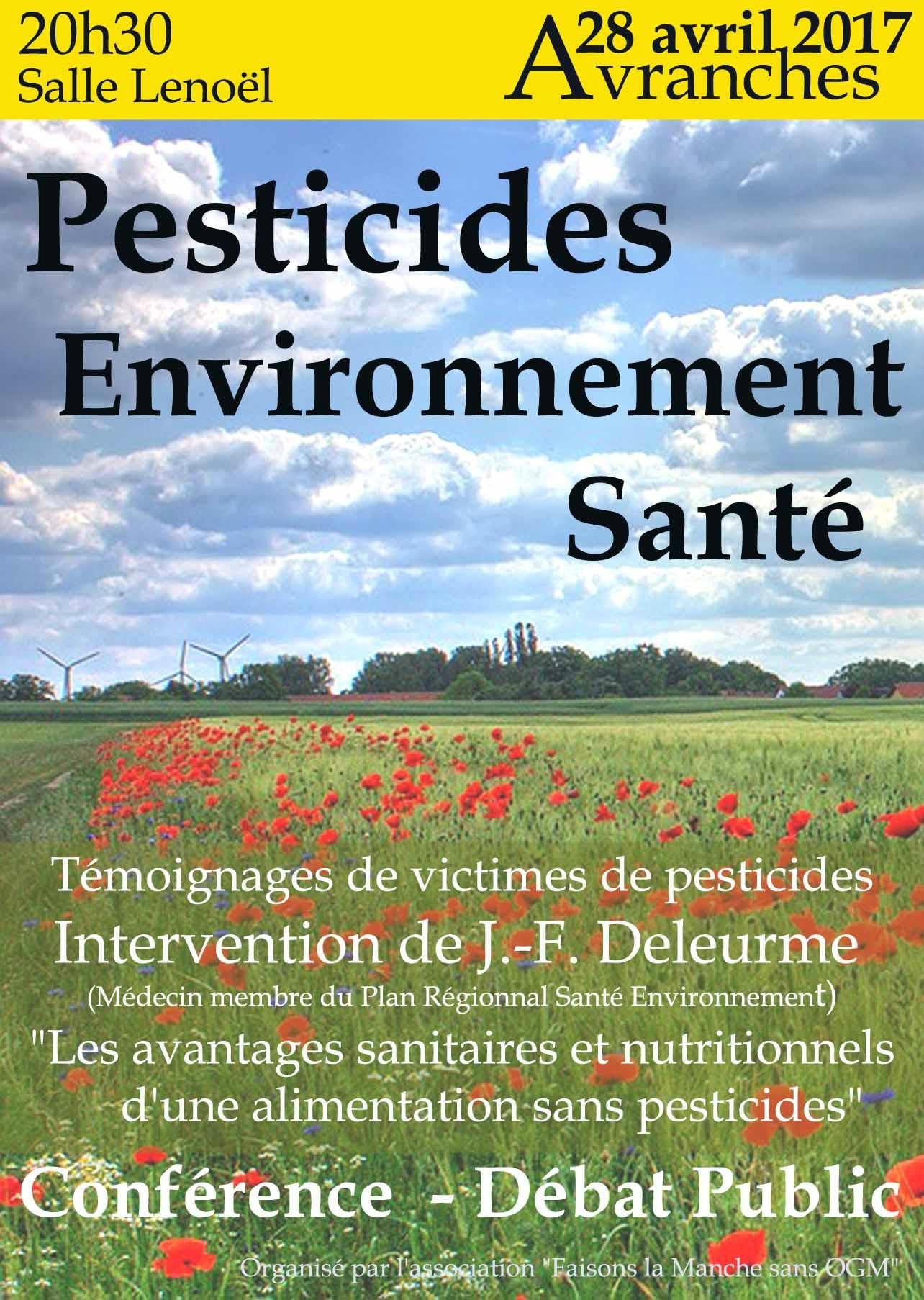 conférence-débat Pesticides, Environnement, Santé à Avranches vendredi 28 avril 2017
