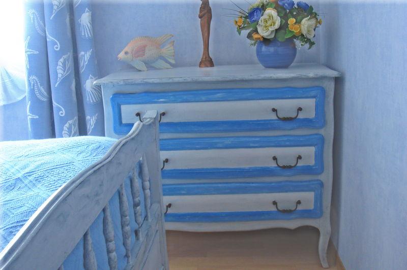 Commode gris bleu apr s photo de f meubles repeints voyage dans mon univers cr atif - Photos de meubles repeints ...