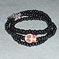 Bracelet - Collier 'Pearls & Skull Howlite' rose