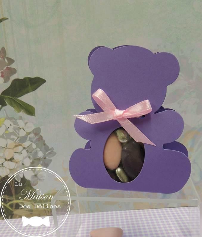 ballotin dragees bapteme sujet enfant ourson nounours lilas mauve violet ruban organza rose pastel poudre nacre argent amande avola chocolat