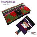 Portefeuille original bohème gipsy tapisserie velours /motifs fleurs colorées fermoir bouton pression vieilli cuir synthétique