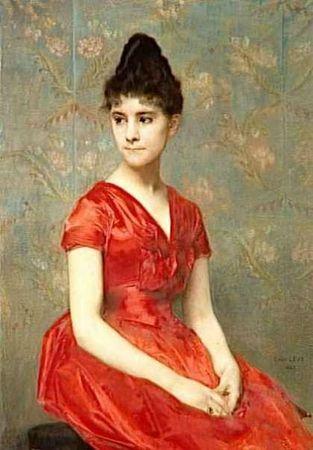 emile levy jeune fille en robe rouge