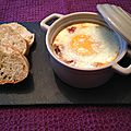 Oeufs cocotte champignons, tomates, lardons
