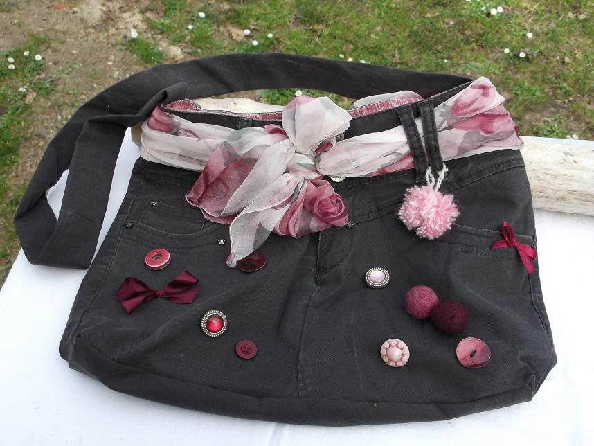 Les sacs du printemps 2013 vendus les cr ations en bois flott et tissu de miss soleil - Sac en jean customisation ...