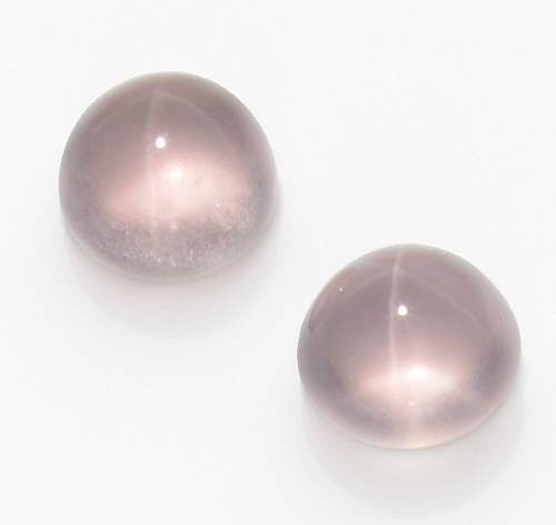 Pair of Star Rose Quartz Cabochons, Brazil