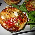 Tartelettes feuilletées garnies de chichon/poivrons/ haricots aux 3 fromages