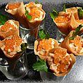Cornets brick au saumon fumé