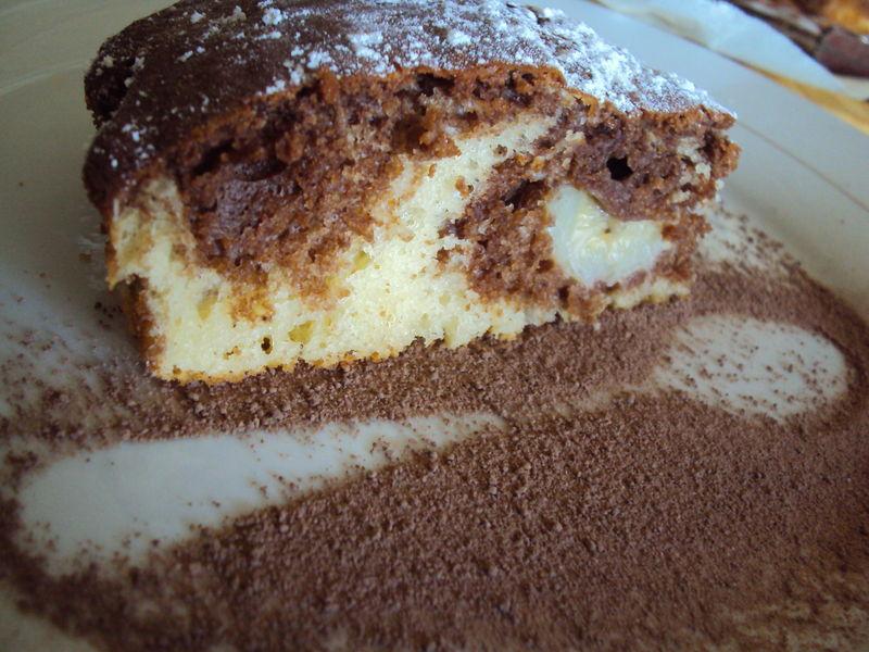 Gateau yaourt banane chocolat en poudre