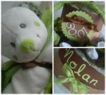 gâteau de couches garçon vert anis marron chocolat lapin diaper cake baby boy cadeau de naissance original babyshower