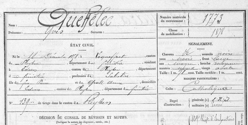 FM Yves classe 1878 bureau de Quimper Mle n° 1773_1