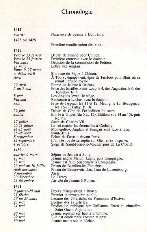 chronologie Jeanne d'Arc