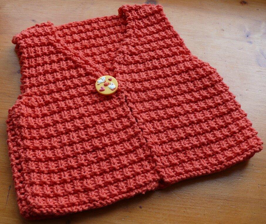 tricoter un gilet taille 6 mois