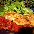 Mozza panée sur coulis de tomate