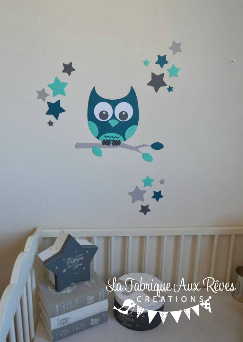 Stickers hibou chouette d coration chambre enfant b b gar on toiles p trole turquoise cara be for Decoration chambre bebe hibou