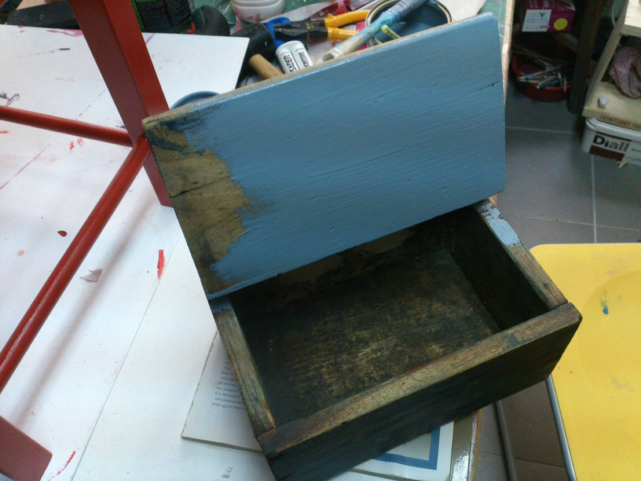 boîte ancienne bleu/gris 2