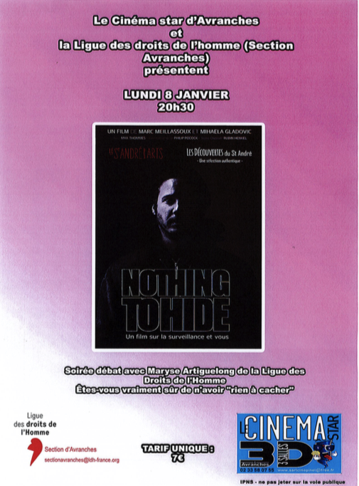 Nothing to Hide film cinéma Avranches 2018 LDH affiche