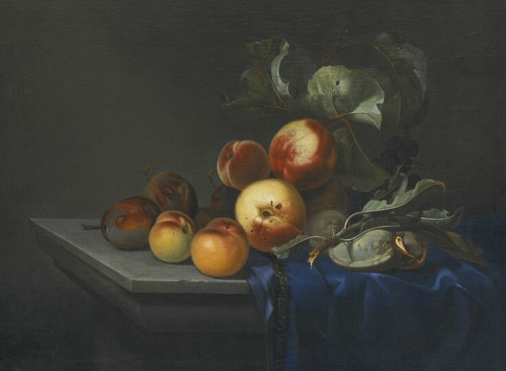 Paul Liégeois (Active in France, mid-17th century), Peaches and plums on a partly draped stone ledge
