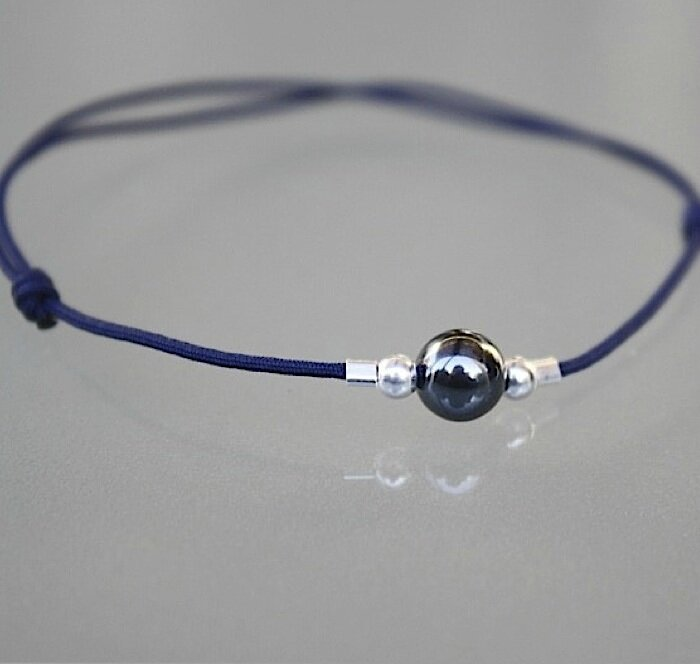 bracelet cordon perle hematite