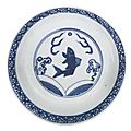 A blue and white 'Fish' dish, Ming dynasty, 16th century