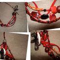 Collier rouge et noir perles cloisonnées...