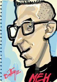 caricature tablette numerique lunettes