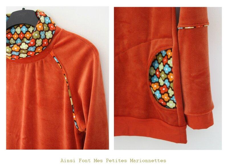 sweat velours orange fleurs 4