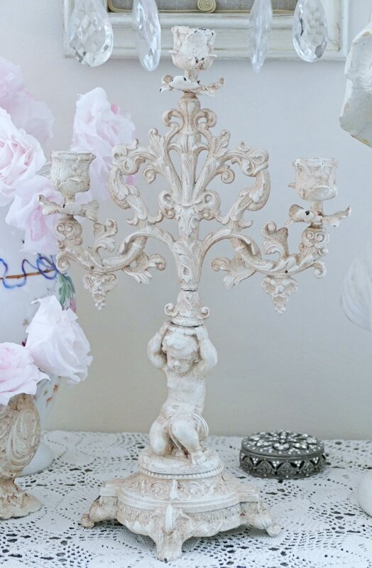 Bougeoir et jardini re shabby chic perle de lumi res for Bougeoir shabby chic