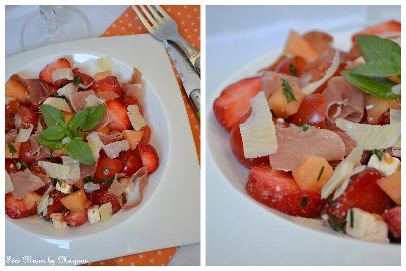 Salade tomates fraises melon féta et jambon sec1