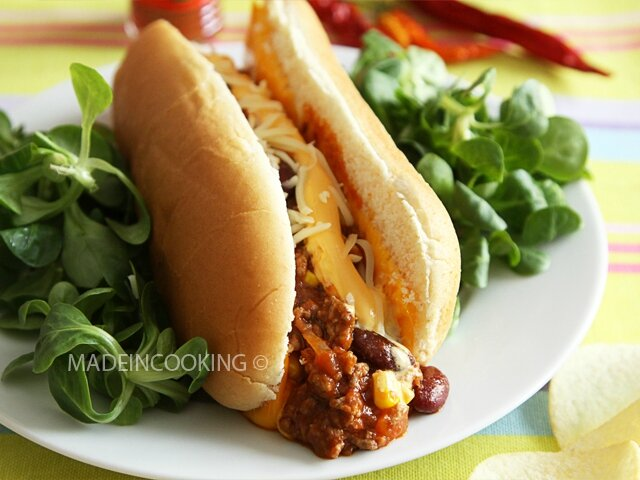 hot chili con carne cheddar sandwich made in cooking. Black Bedroom Furniture Sets. Home Design Ideas