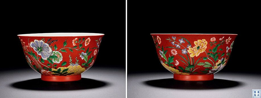 An Imperial Coral-ground Wucai and Yangcai 'Floral' Bowl, Yongzheng Period, 1723 - 1735
