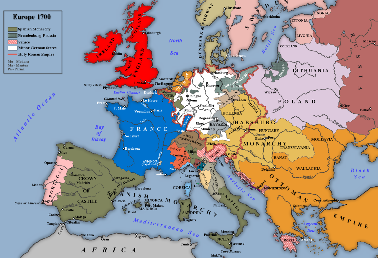 histoire Europe before the War of the Spanish Succession, 1700