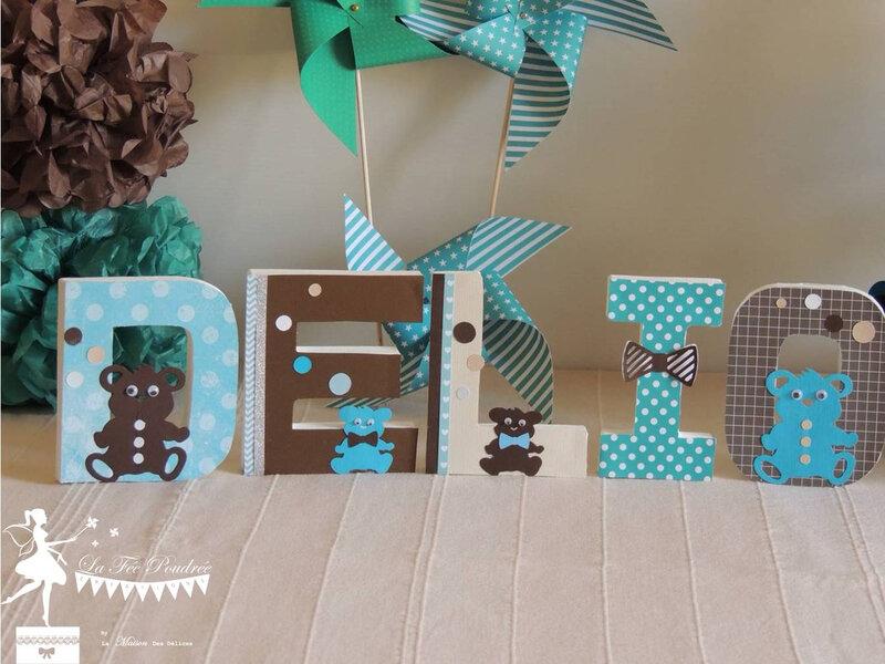 lettre decoree bapteme theme nounours turquoise chocolat moulin decoration chambre enfant
