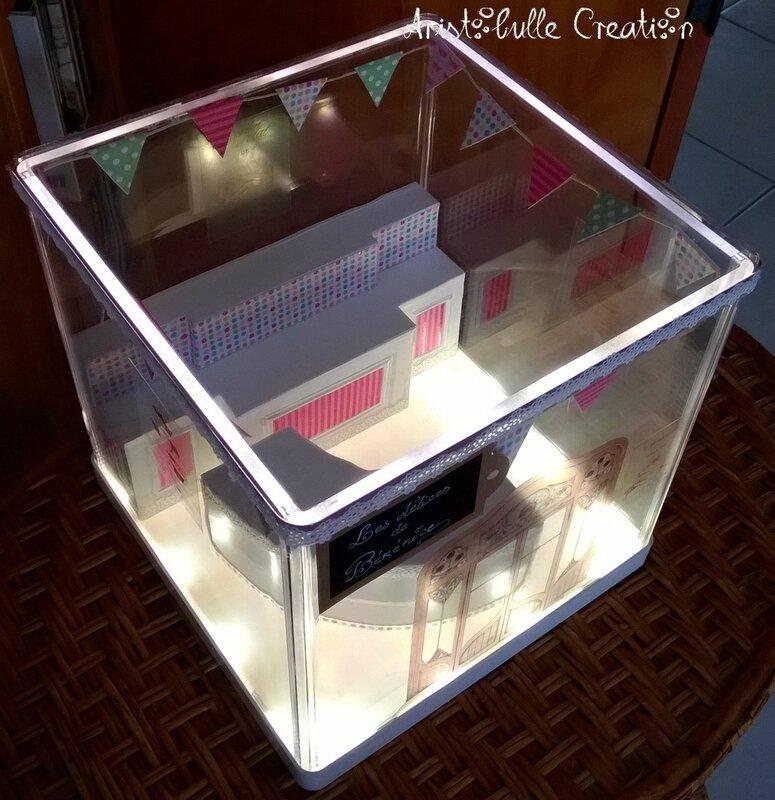 Mini vitrine pâtisserie - allumée