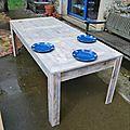 Grande table à manger en bois de palettes