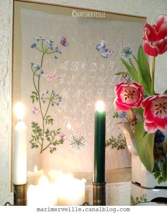 abécédaire brodé - bouquet - marimerveille
