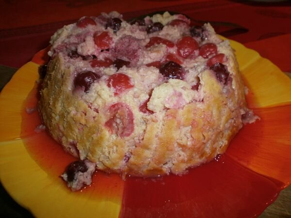 Gateau pudding cerise