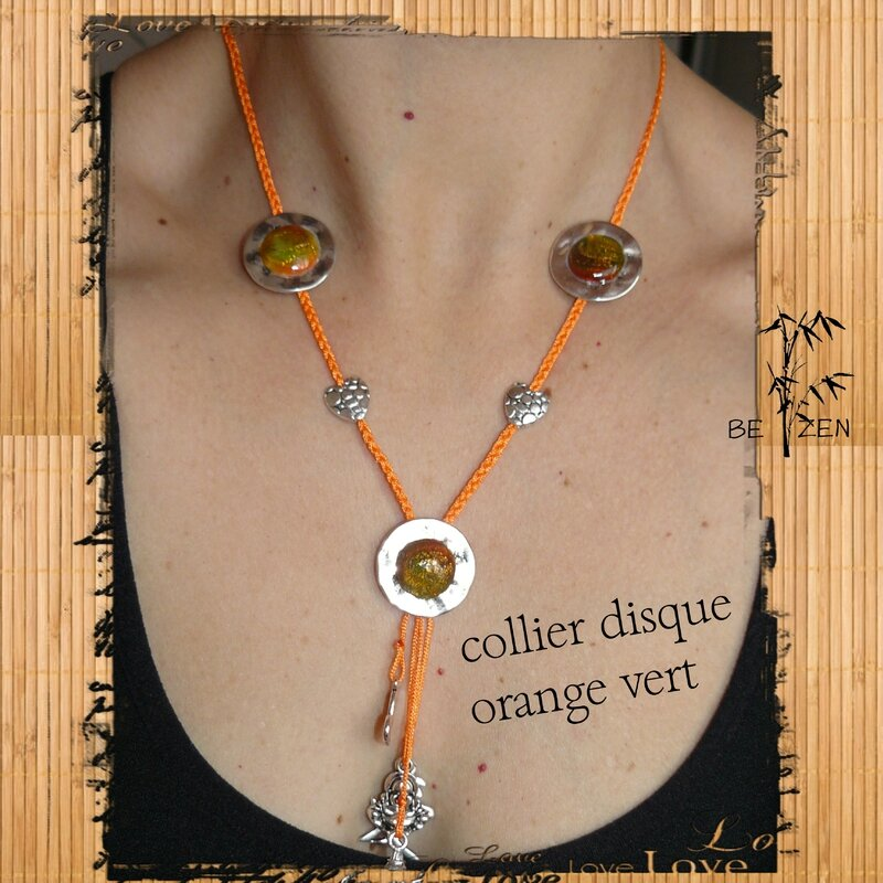 collier disque orange vert 5