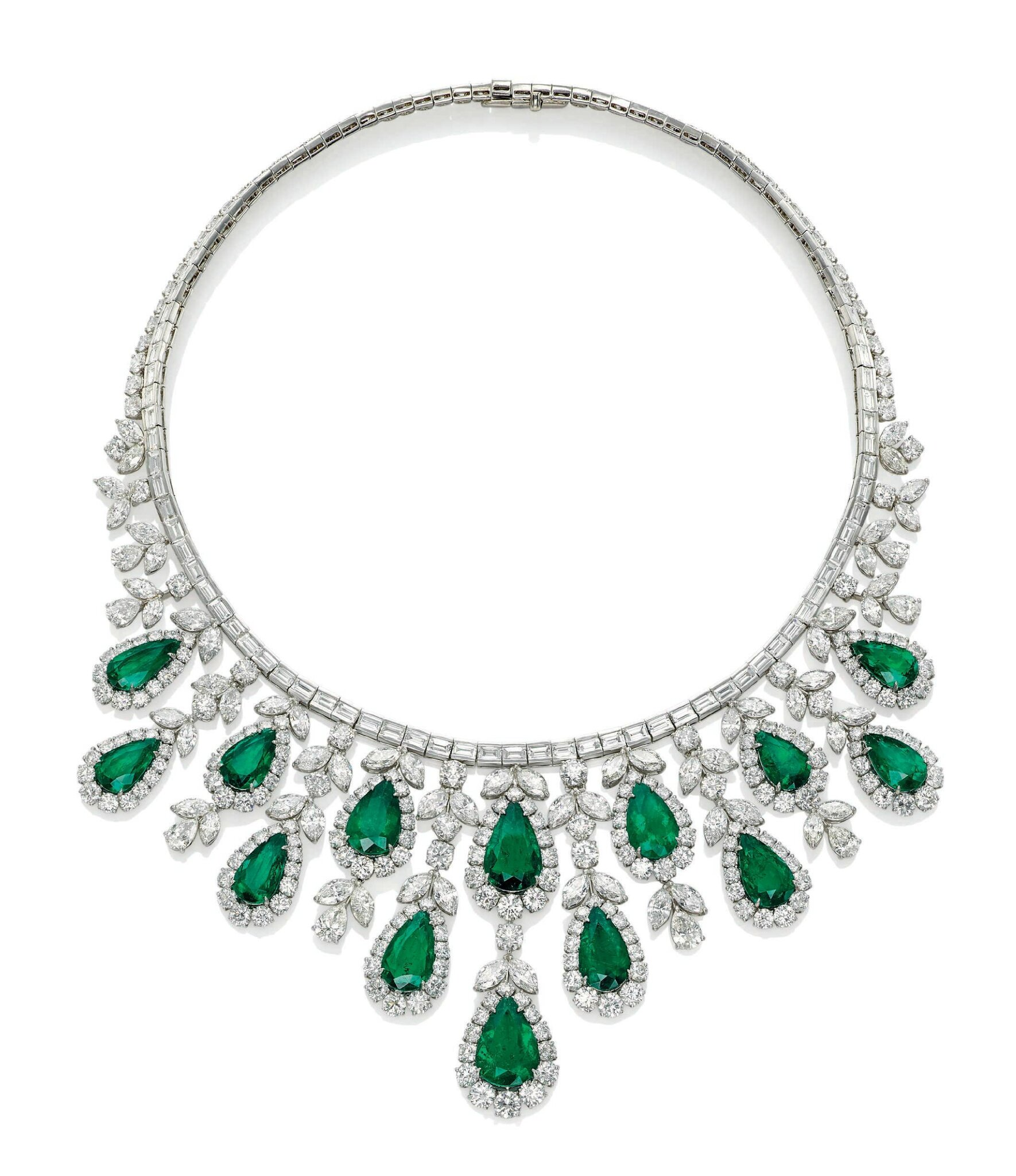 an emerald and diamond fringe necklace by harry winston