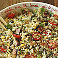 Salade composee 5 cereales, maïs, tomate, tofu & pesto
