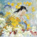 Le pho (vietnam 1907 - france 2001) - femme aux fleurs jaunes (woman with yellow flowers)